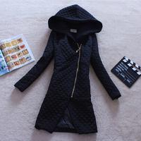 2014 Parkas For Women Winter Coat Jacket Women Outerwear Argyle Thick Hoodie Long Black Down Jacket Parka Jaqueta Feminina