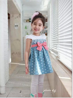 Free shipping children skirt fashion girl dress kids clothes denim skirt The princess dress bowknot skirt Children's Clothing