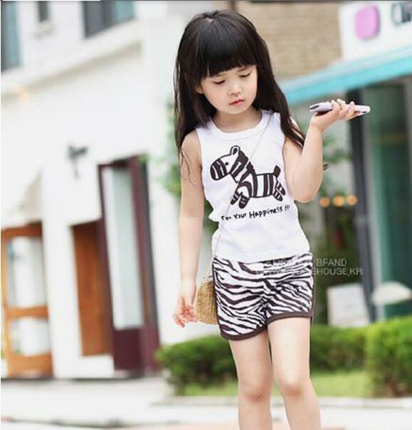 New 2014 Free shipping Summer Girls Kids Sleeveless Animal Zebra Vest + Stripe Pants Striped Clothing Set 3-7 Years SF07-10(China (Mainland))