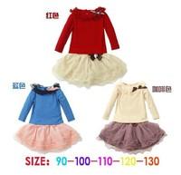 New Girls long Sleeve t shirt + TUTU skirt 2pcs set Children casual clothing Spring Autumn coat 3 colours free shipping 5set/lot