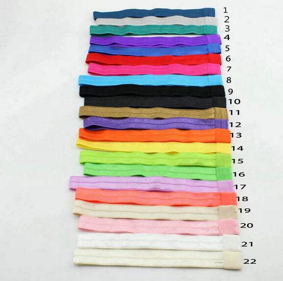 AHO154 22 Colors Elastic FOE Headbands for Baby Girls DIY Hair Accessory Satin Stretchy Hairbands Headwear