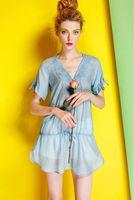 Silk Cotton Blouse-1755/Fashion Women Casual Tops/2014 New Spring&Summer Exclusive Fashion Desigual/S,M,L