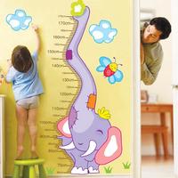High quality 123*80cm Cute Elephant Peel & Stick Wall Decal Kindergarten DIY Art Vinyl Height Measure Wall Stickers Decor Mural