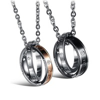 Exquisite Jewelry!316L Stainless Steel Black & Plating Rose Gold Round And Inlaid Shinning Crystal Drill Lovers Pendant Necklace