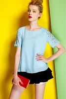 Silk Cotton Blouse-1756/Fashion OL Women Tops/2014 New Spring&Summer Exclusive Fashion Desigual/S,M,L