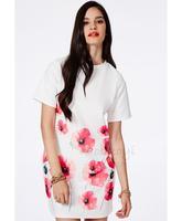 HIGH QUALITY! white print flower women's dress girl fashion dress XS-XXL, 141516126