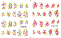 2014 Hot !!! 22Sheets/Lot 11 Designs  Flower Water Nail Sticker Nail Water Transfer Decals- BJC122-132 with card packaging