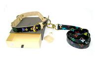 designer dog pets pu leash + collar  2pc set colorful print doggie puppy leather lead black M L