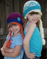 New Arrival Custom made Crochet hats!Comfortable!Soft! In the latest fashion!Anna/elsa style!FROZEN ELSA ANNA!