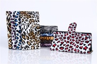 Leopard Grain Case For Huawei Ascend P6 Phone Cases Luxury Quality Lifelike Wild Style Animal pattern Card Set Leather Wallet