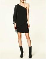 Free shipping 2014 New Autumn American&European Fashion Sexy One-shoulder Dress Sexy Solid Chiffon Dress Plus Size XS-XXL