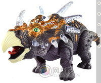 Model simulation animal electric toy triceratops   can move with voice and lighting effect 6632