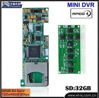 best selling 12V DVR sd card video recorder module board;MINI MOTION DETECT DVR module