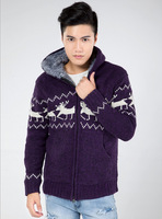 2014 Quality Men'S Fawn Hooded Zipper Sweater Elk Knit Cardigan Sweater Snow Deer Thick Plus Velvet Coat Men'S Sweater XG3-26
