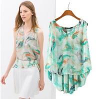 2014 spring and summer new European style small white fish print sleeveless shirt vest chiffon shirt women's T-shirt