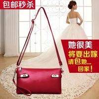 2014 summer vintage genuine leather women's handbag wax cowhide solid color women's envelope bag messenger bag small