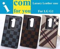 5pcs/lot Luxury Classical Grid Flip Leather case for LG G2 D802 D803