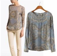 Free shiping 2014 spring and summer new European style printed chiffon printed long-sleeved women's shirt totem shirt