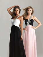 Gorgeous Beaded Long Chiffon Black and White Evening Dresses One Shoulder Pageant Gowns Long Prom Dresses 2014