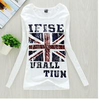 British flag printed women long sleeve t shirt female  round neck  cotton t-shirts white Bottoming shirt