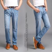 New 2014 Famous Brand Men's Jeans,Fashion Designer Straight Large Size thin Denim Jeans Pants Perfume Men