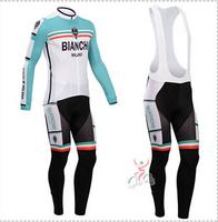 Hot sale/New Arrival/2014 1BIANCHI Long Sleeve Bike/ Cycling Jerseys+bib pants(or pants)/Cycling Suit/Cycling Wear/-WL14BI003