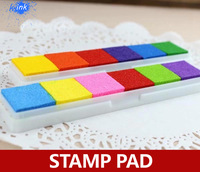 12pcs / lot ,  6 color in one ink pad , multi color ink pad for stamp , DIY scrapbooking accessory