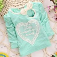 New 2014 Girls T-shirt Sweet Heart  Baby Girls Long Sleeve T Shirts Children Clothing Kids Fall Clothes Child Autumn Outerwear