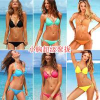 2014 new summer bikini girl bikini swimsuit  SET 2pcs big chest Sexy small chest gather swimsuit vintage bathing beach triangl