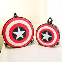 Captain Emerica Shield Printing Backpacks 2014 New Campus PU Leather School bags Circular Fashion Bag for Teenagers Mochila