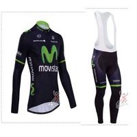 Hot sale/New Arrival/2014 Movistar Long Sleeve Bike/ Cycling Jerseys+bib pants(or pants)/Cycling Suit/Cycling Wear/-WL14MO01