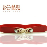 Female belt all-match female heart diamond elastic cummerbund