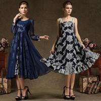 Hot New Fashion 2014 Women Chiffon Twinset Dresses Vintage Summer Autumn Casual Dress Two Pieces Set Elegant Ladies Clothing XL