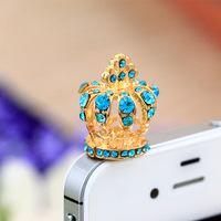 $15 Free Shipping luxury diamond cross crown earphone anti dust plug for cell phone 3.5mm rhinestone ear jack headphone cap