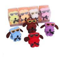 free shipping 100% cotton&microfiber box pack puppy glass towel wedding gift beautiful mini dog promotion gifts towel 10PCS/LOT