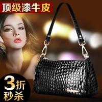 Genuine leather women's handbag black japanned leather handbag cowhide tote bag for Crocodile women's small shoulder bag