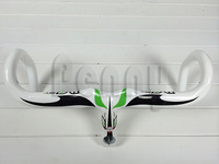 road bike black-white-green Most carbon handlebar most integrated carbon bicycle Handlebar with two screw holes in stem