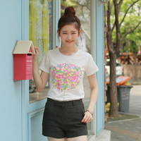 2014 summer new Korean fashion loose big yards geometric print was thin short-sleeved t-shirt women small fresh