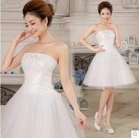 Short White Wedding Dress 2014 Fashionable Romantic Sexy Vintage Bandage Plus Size Salomon Women Summer Princess Bridal Dress