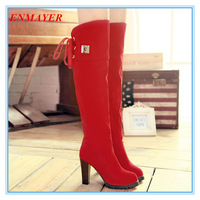 ENMAYER Lace Up Thin High Heels Round Toe Platform Short Fur Winter Shoes Warm Over the Knee Boots for Women Long Boots