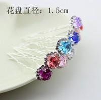 Wholesale 2014 new fashion 30pcs CZ Crystal Diamante Wedding hair accessories bridal Party Prom Bridemaid Flower Hair Pin