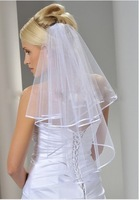 2014 Wholsale Simple White Tulle Wedding Veils Two Layer Ribbon Edge Custom Made Bridal Accesories Hot Sale