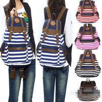 Women Girl Striped Canvas Backpack Leisure Hot School BackpacksFor Teenagers Travel Rucksack
