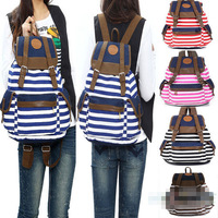 Women Girl Striped Canvas Backpack Leisure Hot School Backpacks	For Teenagers Travel Rucksack
