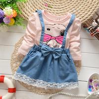New Autumn of 2014 Korean Fashion Baby Girl Child Cartoon False 2pcs Dress Shirt A016
