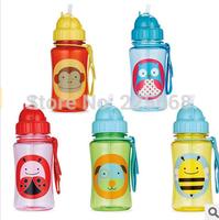 FREE SHIPPING 2014 High Quality tritan Zoo baby cups kids cartoon water bottle Straw Bottles BPA FREE NO Phthalate sports bottle