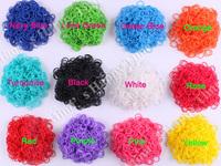 7800 New Rubber loom bands 12 normal colors + 600 pcs mixed color loom bands + 24 S-clips /bag
