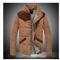 2014 Winter explosion models corduroy stand collar mixed colors Slim fit men's coat/men's down jacket size:M-XXL Free Shipping