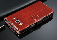 Crazy Style Business style Flip Leather Case For Samsung Galaxy Grand 2 G7106 G7108 Credit Card Holster
