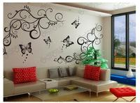 2014 Freeshipping Butterfly love pattern Ka To TV Background Wallpaper Fashion Thick Waterproof PVC Self-adhesive Five size